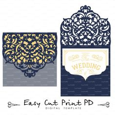 Wedding Luxery Envelope Card Template ornamental swirl cutting file C119 (svg, dxf, ai, eps, png, pdf) ornate laser cut arabesque