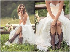 Bride in cowgirl boots! Farm bridal pictures with a lace gown - love this! Wedding photographer, southern wedding