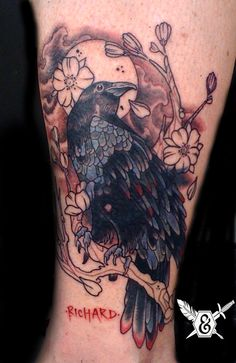 Raven Tattoo by artist Javier Rivera at The Ink & Dagger Tattoo Parlour (thinking on a cover up with this