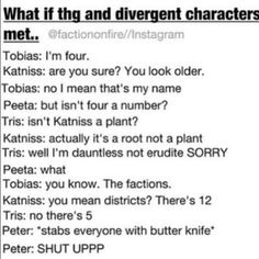 """""""The Divergent Games""""? """"The Divergent Hunger Games""""? """"The Hungry Divergent""""? Divergent Characters, Divergent Hunger Games, Divergent Fandom, Divergent Funny, Divergent Insurgent Allegiant, Divergent Trilogy, Hunger Games Series, Hunger Games Catching Fire, Theo James"""