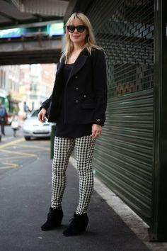 Patterned trousers, black and white