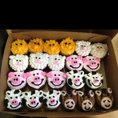 Farm animal cupcakes, Caiden 2nd bday.  Lori you think you can make these?