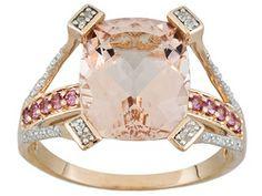 """101 Facet ""cor-de Rosa Morganite And Tourmaline 4.95ctw With Diamond 10k Rose Gold Ring"