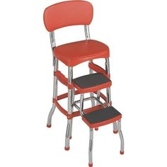 Cosco Home & Office Retro Chair/Step Stool 11-120-RED1 Unit: Each, Grey chrome