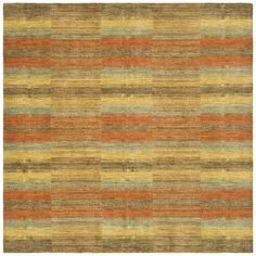 An intricate southwestern design and dense, thick pile highlight this hand-knotted rug. This floor rug has a multi-colored background and displays stunning panel colors of gold, brown, rust and blue.