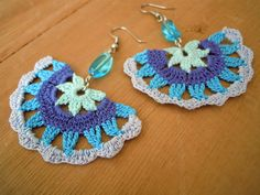 fine crochet earrings, multicolored