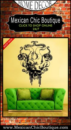 Wall Decal | Wall Sticker | Sugar Skull | Sugar Skull Wall Vinyl Decal | Day of the Dead Decal | Large Decals | Skull Decals | Skull Stickers | Skull Wall Sticker | Sugar Skull Decal | Home Decor | Mexican Decorations | Shop Now | Mexican Chic | Mexican Chic Boutique  ♥  Wall Decal Vinyl Sticker Decals Octopus Sprut Tentacles Big Skull Kraken $28.99