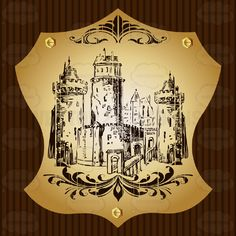 Castle With Towers And Bridge Coat Of Arms On Gold Plate Screwed On Wooden Brown Background #achievement #ages #armorial #arms #army #bearings #castle #cities #coat #country #crest #european #family #fight #fortress #guard #heraldic #king #medieval #middle #military #nations #PDF #queen #roaylty #state #symbol #tower #universities #vectorgraphics #vectors #vectortoons #vectortoons.com