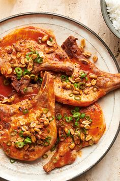Quick-Broiled Pork Chops With Peanuts and Gochujang Recipe - NYT Cooking - Maury Cranidge Pork Recipes, Cooking Recipes, Cooking Ingredients, Gochujang Recipe, Savoury French Toast, Roast Fish, Easy Restaurant, Braised Chicken, Bon Appetit