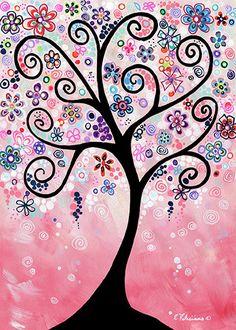 Whimsical Pink Tree Garden Landscape by NYoriginalpaintings