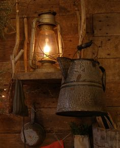 rustic old pitcher and lamp