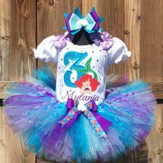 Ariel Little Mermaid Girls Personalized Birthday Tutu Outfit