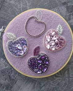 Best 12 Sewing a beaded brooch using an embroidery hoop to keep the fabric base flat. Bead Embroidery Tutorial, Bead Embroidery Patterns, Embroidery Works, Couture Embroidery, Bead Embroidery Jewelry, Hand Embroidery Designs, Beaded Embroidery, Beaded Brooch, Beaded Earrings