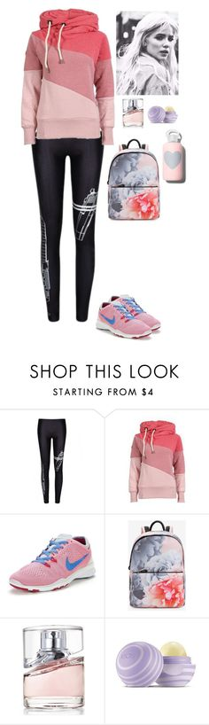 """Sporty Beautifulhalo"" by eliza-redkina ❤ liked on Polyvore featuring NIKE, Ted Baker, BOSS Hugo Boss, Eos, bkr, women's clothing, women's fashion, women, female and woman"