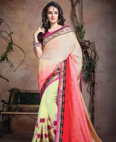 Buy Exquisite Cream And Pink & Yellow Designer Sarees online at  https://www.a1designerwear.com/exquisite-cream-and-pink-yellow-designer-sarees  Price: $39.34 USD
