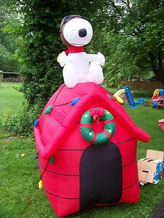 rare snoopy christmas inflatable 7 ft tall lighted outdoor christmas decorations christmas lights christmas - Snoopy Blow Up Christmas Decorations