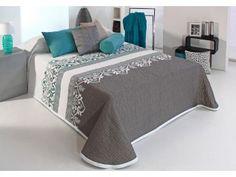 Cuvertura de pat matlasata gri cu turcoaz Irvin
