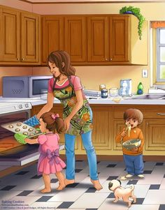Mom Baking Cookies with Kids in the Kitchen Cartoon Illustration Family Illustration, Cute Illustration, Kitchen Cartoon, Cooking Kits For Kids, Conversation Starters For Kids, Picture Composition, Kitchen Pictures, Drawing For Kids, Cute Love