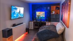 Best Game Room Ideas [Game Room Setup For Adults & Ideal Game Room Ideas family forteens mancaves small kids Reduced youth bedsSingle bed / guest bed solid pine solid oak incl. Game Room Design, Small Room Design, Small Game Rooms, Home Music, Bedroom Setup, Bedroom Ideas, Gaming Room Setup, Gamer Setup, Gaming Rooms