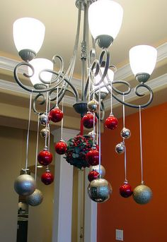 Ornaments hanging from the chandelier.