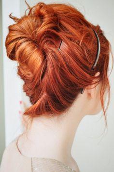 red head + messy bun