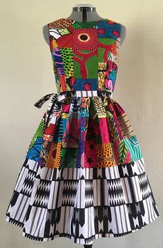 Cutey African Print Patchwork Kente Mixed Print Cotton Dress With Pockets and Optional Skinny Tie Belt African Print Dresses, African Fashion Dresses, African Dress, Fashion Outfits, African Inspired Fashion, African Print Fashion, Fashion Prints, African Attire, African Wear