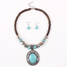 Fashion Turquoise Disk Design Jewelry Set Exaggeration Women Ladies Earrings Necklace