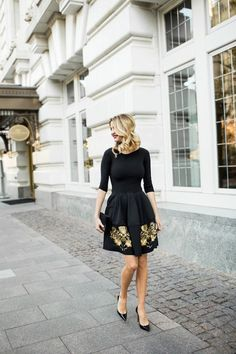 Perfect for those upcoming festive occasions … gorgeous black jersey dress with gold embroidered skirt &of course some killer heels ;)   photos of Emily @ Ivory Lane ~ x debra  Dust Jacket on Bloglovin'