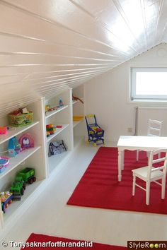 LOFT IDEA - Could use normal small black shelving we already have. Books/photo albums/scrapbooks now and LOFT IDEA - Could use normal small black shelving we already have. Books/photo albums/scrapbooks now and kids toys later on. Loft Playroom, Loft Room, Playroom Ideas, Baby Playroom, Attic Rooms, Attic Spaces, Attic Bathroom, Toy Rooms, Open Spaces