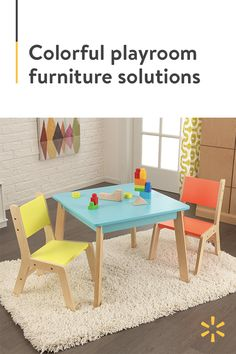 The KidKraft Modern Table and Two Chairs Set offers a fun way to create work and play spaces at home Its sleek and stylish design is simple and easy to clean Created at just the right height and size for young children, this kids' table and chairs