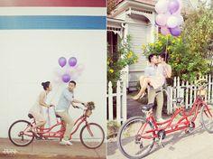 Engagement Photo   Austin, Texas   Balloons   Bicycle   Couple   Photo by Prima Luce Studio