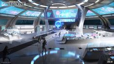 Enjoy some stunning concept art and learn more about its role in bringing the levels in Star Wars™ Battlefront II to life. Spaceship Interior, Futuristic Interior, Spaceship Design, Futuristic Architecture, Futuristic Art, Star Citizen, Technology World, Futuristic Technology, Technology Gadgets