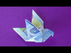 Money folding: Bird Uncategorized how to fold origami crane Origami Ball, Origami Butterfly, Origami Flowers, Origami Paper, Origami Crane Tutorial, Wood And Upholstered Bed, Colchas Quilting, Origami Simple, Diy And Crafts