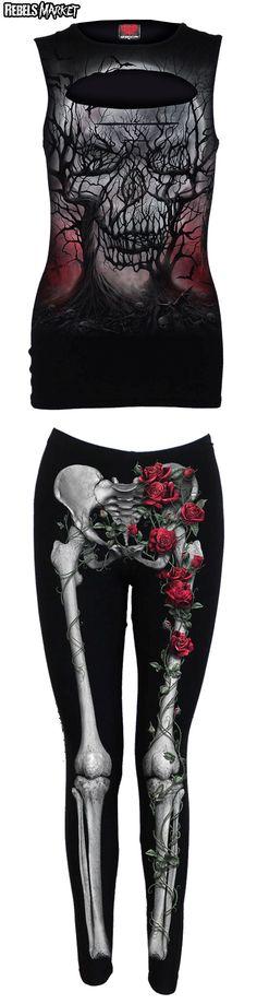 Shop skull goth tops and leggings at RebelsMarket.