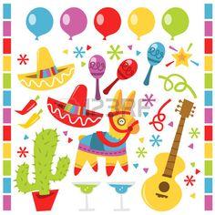 Una ilustraci n vectorial presenta elementos de dise o fiesta mexicana retro contra un fondo blanco  Foto de archivo
