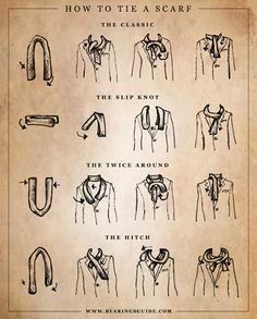 Dessertpin - Captain Dapper: Tie One On: 5 Scarf Tying Guides to Bookmark Ways To Tie Scarves, How To Wear Scarves, Men's Scarves, Wearing Scarves, Sharp Dressed Man, Well Dressed Men, Aldo Conti, Looks Style, My Style