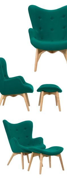 Prop your feet up and sit back for a most relaxing experience. Inspired by mid-century modern Dutch design, the chair and ottoman provide modern comfort for your home. Bright teal upholstery complements a sturdy, stylish frame.