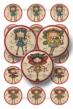 Christmas, Candy Cane, Fairy, Bottle Cap Images, Digital Collage Sheet, 1 Inch Circle, Printable, Instant Download - pinned by pin4etsy.com