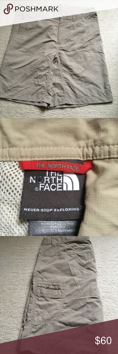 Men North Face 100% nylon short Hurry!! Get these men North Face 100% nylon short before they're gone. Lightweight and comfort to wear. In good condition. No stains or tears. Size 34. Color: beige. North Face Shorts Cargo