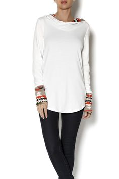 Super soft white hoodie with orange and beige contrast aztec lining. A cozy top to pair with denim and boots.       Longline Print Contrast Hoodie by Mon Ami. Clothing - Tops - Long Sleeve Clothing - Sweaters - Crew & Scoop Neck Utah