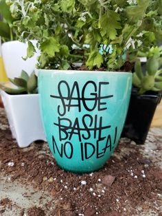No Idea! Planter || Hand Lettered Planter || Funny Plant Pot || Aqua Ceramic Planter with Black Lettering by InkLetterLove on Etsy https://www.etsy.com/listing/483168699/no-idea-planter-hand-lettered-planter