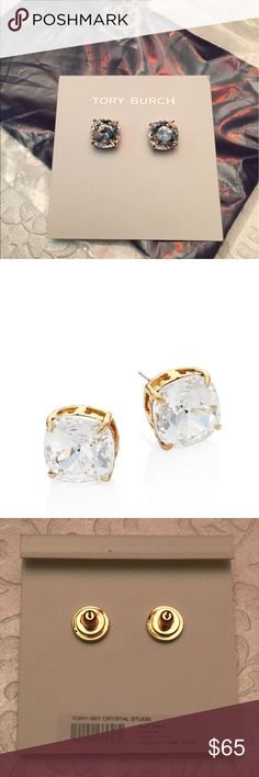 Tory Burch Set Crystal Stud Earrings Add some spectacular shine to your ensemble with these Tory Burch earrings. Features an array of semi-precious stones. Details available in drop-down menu.  Tory Gold-tone finish.  Post back.  Imported.  Measurements: Width: 2⁄5 in Height: 2⁄5 in Weight: 0.2 oz New with tags and gift bag! Retail $65.00 Tory Burch Jewelry Earrings