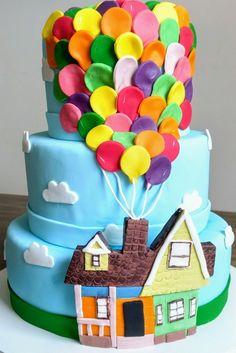Lindeza de bolo para festa Up Altas Aventuras. Todo em açúcar.