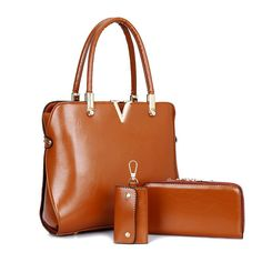 Genuine Leather Solid Purses+Shoulder +Handbag 3 PCS/Set Luxury Women Designer Handbags High Quality Sac a Main Composite Bag