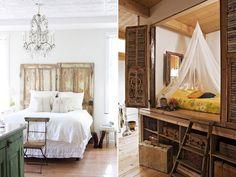 Reclaimed doors as headboard on left//Hideaway bed on the right//vintage suitcases Dream Bedroom, Home Bedroom, Boudoir, Headboard From Old Door, Hideaway Bed, Bed Nook, Old Wooden Doors, Cool Beds, Cool Rooms