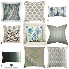 The best toss cushions and home decor to update forest green furniture, carpet, tile, countertop. Kylie M Interiors E-decor and Online Design and Color Consulting