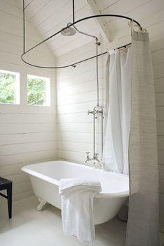 Farmhouse Bathroom 180 Degree Renovation Clawfoot tub shower