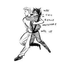 Interpretations of Jason's grabbing and flying with Nico, by Viria on tumblr