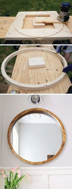 DIY Round Wood Framed Mirror | I love the method... very ingenious #woodworkingplans