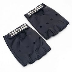 Biker Goth Punk Emo Rocker FingerLess Black W/ Studs Faux Leather Gloves